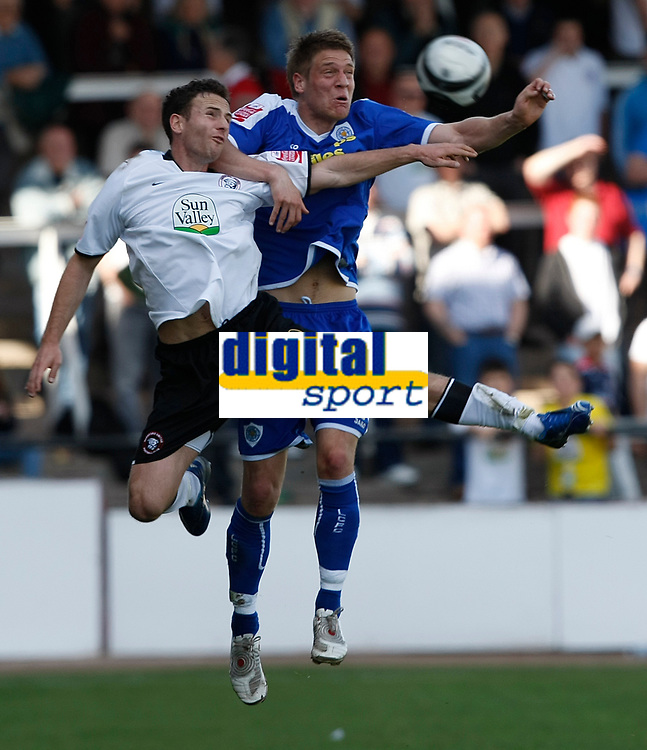 Photo: Steve Bond/Richard Lane Photography. Hereford United v Leicester City. Coca Cola League One. 11/04/2009. Marc Pugh (L) and Michael Morrison (R) in the air
