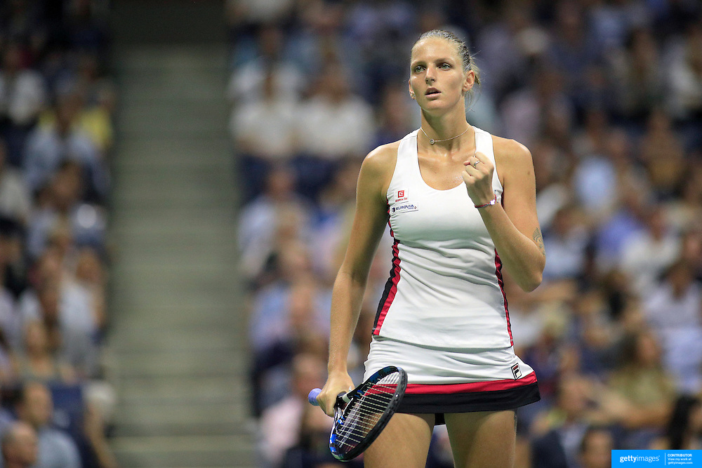 2016 U.S. Open - Day 11  Karolina Pliskova of the Czech Republic celebrates a point during her victory against Serena Williams of the United States in the Women's Singles Semifinal match on Arthur Ashe Stadium on day eleven of the 2016 US Open Tennis Tournament at the USTA Billie Jean King National Tennis Center on September 8, 2016 in Flushing, Queens, New York City.  (Photo by Tim Clayton/Corbis via Getty Images)