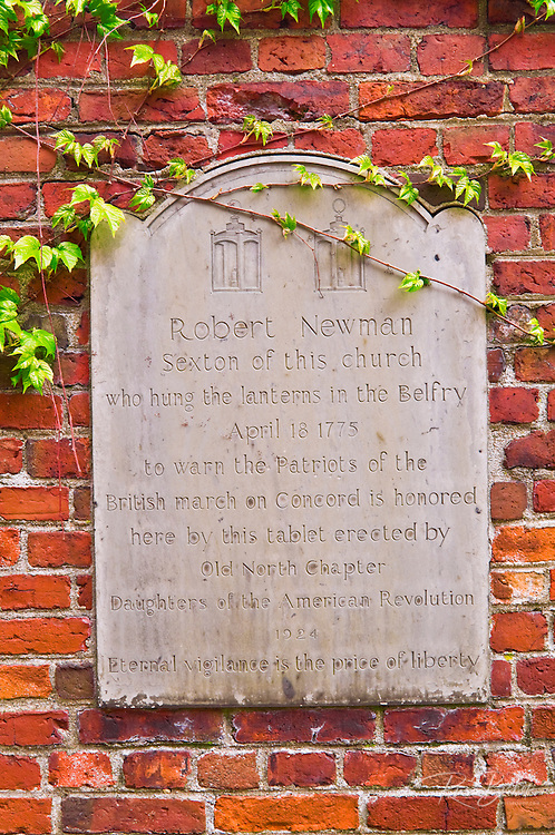 Historic plaque at the Old North Church on the Freedom Trail, Boston, Massachusetts