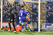 Paul Robinson of AFC Wimbledon celebrates his goal 1-0 during the Sky Bet League 2 match between AFC Wimbledon and Carlisle United at the Cherry Red Records Stadium, Kingston, England on 23 February 2016. Photo by Stuart Butcher.