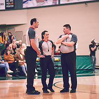 Referees during the Women's Basketball Home Game on Sat Feb 02 at Centre for Kinesiology,Health and Sport. Credit: Arthur Ward/Arthur Images