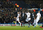 Aston villa defend a cross during the EFL Sky Bet Championship match between Leeds United and Aston Villa at Elland Road, Leeds, England on 1 December 2017. Photo by Paul Thompson.