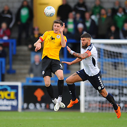 TELFORD COPYRIGHT MIKE SHERIDAN 1/12/2018 - Shane Sutton of AFC Telford battles for the ball with Jake Beesley during the Vanarama Conference North fixture between AFC Telford United and Bradford Park Avenue AFC.