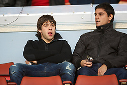 LIVERPOOL, ENGLAND - Monday, April 19, 2010: Liverpool's Emiliano Insua and a friend watche the Premiership match against West Ham United from the Director's Box at Anfield. (Photo by: David Rawcliffe/Propaganda)
