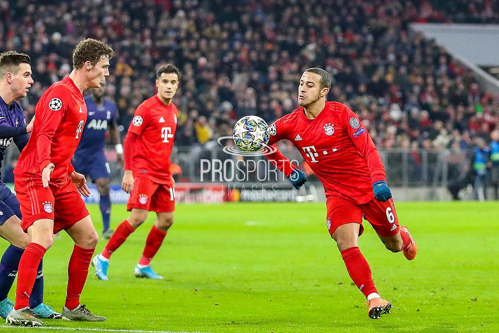 Bayern Munich midfielder Thiago Alcántara (6) on the ball during the Champions League match between Bayern Munich and Tottenham Hotspur at Allianz Arena, Munich, Germany on 11 December 2019.