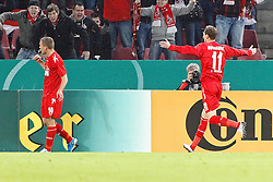26.10.2010,  Rhein Energie Stadion, Koeln, GER, DFB Pokal, FC Koeln vs 1860 Muenchen, 2. Runde, im Bild: Lukas Podolski (Koeln #10 / links ) jubelt mit den Fans. 2:0 Torschuetze Milivoje Novakovic (Koeln #11) kommt dazu  EXPA Pictures © 2010, PhotoCredit: EXPA/ nph/  Mueller+++++ ATTENTION - OUT OF GER +++++