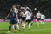 Chris Smalling of England heads at goal during the International Friendly match between Germany and England at Signal Iduna Park, Dortmund, Germany on 22 March 2017. Photo by Phil Duncan.