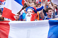 Paris, France - 2016 June 10: French fan supports his team during France v Romania match while Soccer European Championships UEFA EURO 2016 at Stade de France on June 10, 2016 in Paris, France.<br /> <br /> Adam Nurkiewicz declares that he has no rights to the image of people at the photographs of his authorship.<br /> <br /> Picture also available in RAW (NEF) or TIFF format on special request.<br /> <br /> Any editorial, commercial or promotional use requires written permission from the author of image.<br /> <br /> Mandatory credit:<br /> Photo by © Adam Nurkiewicz