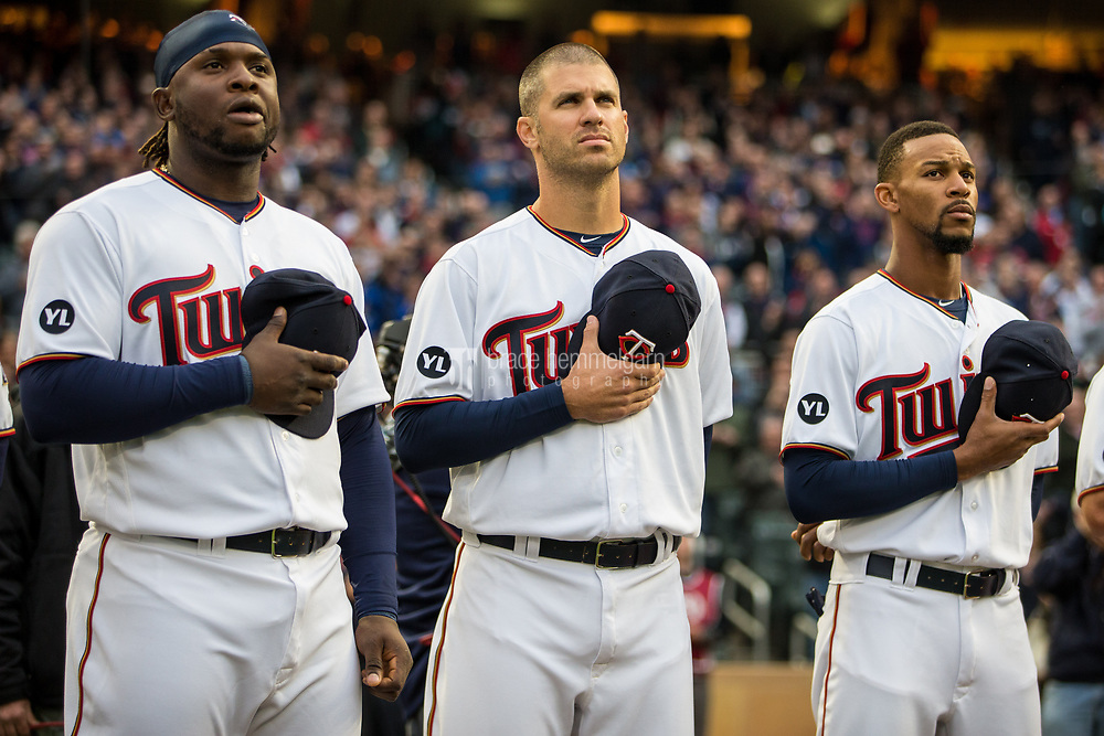 MINNEAPOLIS, MN- APRIL 3: Miguel Sano #22, Joe Mauer #7 and Byron Buxton #25 of the Minnesota Twins look on against the Kansas City Royals on April 3, 2017 at Target Field in Minneapolis, Minnesota. The Twins defeated the Royals 7-1. (Photo by Brace Hemmelgarn) *** Local Caption *** Miguel Sano;Joe Mauer;Byron Buxton