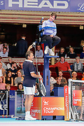 Henri Leconte joking with the chair umpire during the Champions Tennis match at the Royal Albert Hall, London, United Kingdom on 6 December 2018. Picture by Ian Stephen.