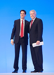 Ed Miliband and Carwyn Jones during the Labour Party Conference in Manchester, Monday October 1 2012, Photo by Elliott Franks / i-Images