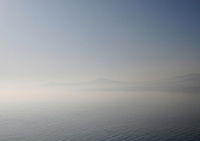 View of Killiney bay in Dublin Ireland on a misty winter morning