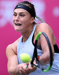 Oct. 13, 2017 - Tianjin, China - ARYNA SABALENKA of Belarus returns the ball during the women's singles quarterfinal match against Zhu Lin of China at the 2017 WTA Tianjin Open tennis tournament in north China's Tianjin Municipality. Sabalenka won 2-0.(Credit Image: © Yue Yuewei/Xinhua via ZUMA Wire)