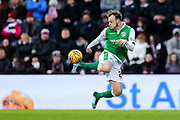 Brandon Barker (#20) of Hibernian controls the ball in the air during the William Hill Scottish Cup 4th round match between Heart of Midlothian and Hibernian at Tynecastle Stadium, Gorgie, Scotland on 21 January 2018. Photo by Craig Doyle.
