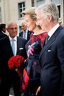 20-7-2015 - BRUSSEL - BRUSSELS, BELGIUM: Queen Mathilde of Belgium and King Philippe - Filip of Belgium arrive a prelude concert by the Belgian National Orchestra on the eve of Belgium's National Day, Monday 20 July 2015, at Bozar in Brussels. COPYRIGHT ROBIN UTRECHT<br /> 20-7-2015 - BRUSSEL - BRUSSEL, BELGI&Euml;: Koningin Mathilde van Belgi&euml; en Koning Philippe - Filip van Belgi&euml; komen een prelude concert van het Nationaal Orkest van Belgi&euml; aan de vooravond van Belgi&euml; de Nationale Dag, maandag 20 juli 2015 in Bozar in Brussel. COPYRIGHT ROBIN UTRECHT