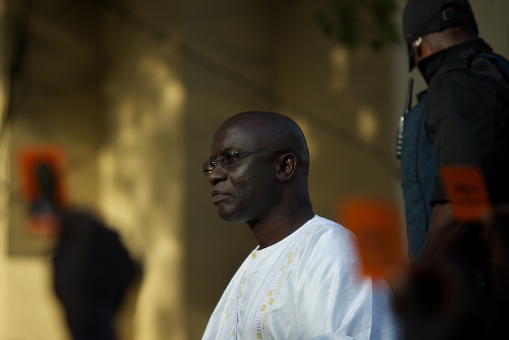 February 24, 2012 - Dakar, Senegal: Presidential candidate Idrissa Seck prepares to address a crowd of supporters during a rally in the last of day of electoral campaign in central Dakar. (Paulo Nunes dos Santos/Polaris)