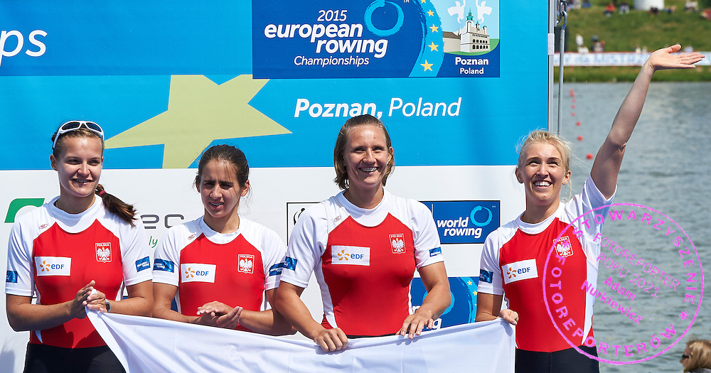 Bronze medalists (L-R) Monika Ciaciuch and Maria Springwald and Joanna Leszczynska and Agnieszka Kobus celebrate after took third place Women&rsquo;s Quadruple Sculls (W4x) Final A during third day the 2015 European Rowing Championships on Malta Lake on May 31, 2015 in Poznan, Poland<br /> Poland, Poznan, May 31, 2015<br /> <br /> Picture also available in RAW (NEF) or TIFF format on special request.<br /> <br /> For editorial use only. Any commercial or promotional use requires permission.<br /> <br /> Mandatory credit:<br /> Photo by &copy; Adam Nurkiewicz / Mediasport