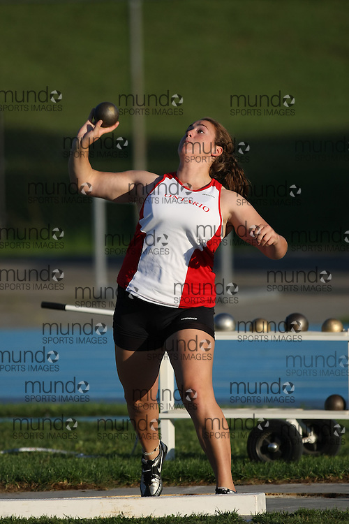(Ottawa, Ontario---14 August 2008)  Alanna Kovacs of Ontario Red competing in the women's shot put at the 2008 Ontario Summer Games and Ontario v. Quebec v. Atlantic Canada Espoire Meet. Photo copyright Sean Burges/Mundo Sport Images. More details can be found at www.msievents.com.