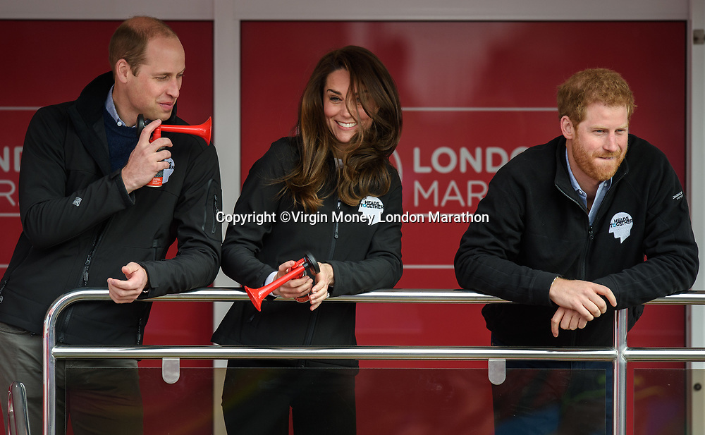 TRH The Duke and Duchess of Cambridge and Prince Harry get ready to act as the official starters for the London Marathon. The Virgin Money London Marathon, 23rd April 2017.<br /> <br /> Photo: Joe Toth for Virgin Money London Marathon<br /> <br /> For further information: media@londonmarathonevents.co.uk