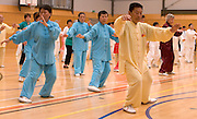 Yang Shou Zhi from North Shore, Auckland leads performers as New Zealand starts the global relay celebrating World Tai Chi & Qigong Day 2007 which commences at 10am local time worldwide, Tamaki Community Centre, Glen Innes, Auckland, New Zealand on Saturday 28 April 2007.  Photo: David Rowland/PHOTOSPORT