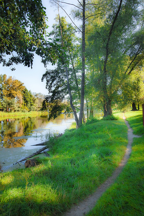 Tranquil riverside path along the Psel River in Sumy, Ukraine