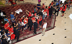 BANGKOK, THAILAND - Monday, July 13, 2015: Liverpool's manager Brendan Rodgers signs autographs for supporters at the Plaza Athenee team hotel in Bangkok on day one of the club's preseason tour. (Pic by David Rawcliffe/Propaganda)