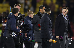 """BT Sport presenter Jake Humphrey (right) alongside pundits Rio Ferdinand (centre left), Jermaine Jenas and Paul Scholes (left) before the Premier League match at Vicarage Road, Watford. PRESS ASSOCIATION Photo. Picture date: Tuesday November 28, 2017. See PA story SOCCER Watford. Photo credit should read: Andrew Matthews/PA Wire. RESTRICTIONS: EDITORIAL USE ONLY No use with unauthorised audio, video, data, fixture lists, club/league logos or """"live"""" services. Online in-match use limited to 75 images, no video emulation. No use in betting, games or single club/league/player publications."""