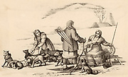 Inhabitants ot the Kamchatka Peninsula, Russian Far East, travelling in winter.  These people of the Arctic are clothed in furs and animal skin.  The man has snow shoes and is carrying a bow and arrows.  The women are travelling by dog sledge.  Engraving