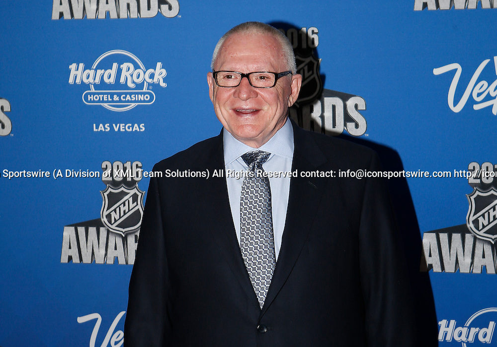2016 June 22: Pittsburgh Penguins general manger Jim Rutherford poses for a photograph on the red carpet during the 2016 NHL Awards at the Hard Rock Hotel and Casino in Las Vegas, Nevada. (Photo by Marc Sanchez/Icon Sportswire)
