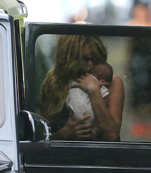 (EXCLUSIVE PICTURES) Model Abbey Clancy and footballer husband Peter Crouch spend some quality time with their two daughters Sophia Ruby and new baby Liberty Rose at a park in London, UK. 16/06/2015<br /> BYLINE MUST READ : JAMESY/GOTCHA IMAGES<br /> <br /> Copyright by © Gotcha Images Ltd. All rights reserved.<br /> Usage of this image is conditional upon the acceptance <br /> of Gotcha Images Ltd, terms and conditions available at<br /> www.gotchaimages.com