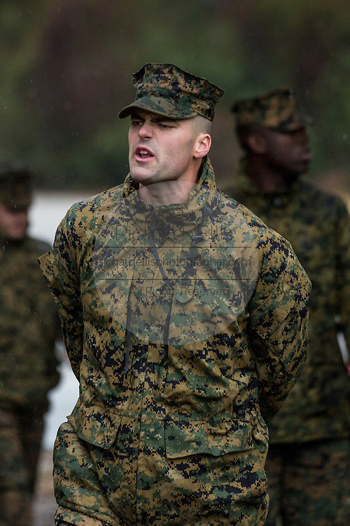 US Marine drill instructor yells orders to recruits during bootcamp January 13, 2014 in Parris Island, SC.