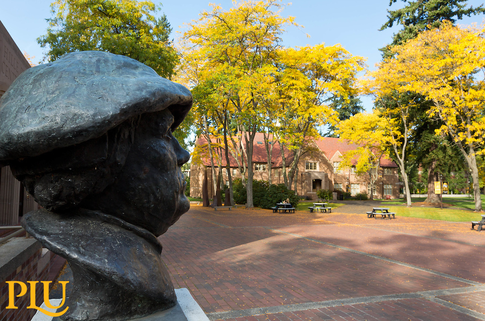Bust of Martin Luther overlooks Red Square with Xavier in the background at PLU on Tuesday, Oct. 7, 2014. (PLU Photo/John Froschauer)