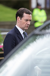 © Licensed to London News Pictures . 01/07/2016 . Manchester , UK .  GEORGE OSBORNE leaves Manchester Cathedral after a remembrance service . Somme100 events in Manchester City Centre to commemorate the 100th anniversary of the first day of the Battle of the Somme . Photo credit : Joel Goodman/LNP