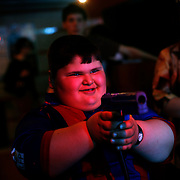 Dzhambulat Khotokhov, 6, one of the fattest boys in the world, plays video game in Nal'chik, near in his home town Terek, in southern Russia. .Now 1.4 metres tall and weighing about 100 kg, Khotokhov has grabbed world attention as the biggest kid in the world since he was three. .Khotokhov lives with his mother Neyla and his brother, 14-year-old Mukha. .
