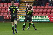Forest Green Rovers Junior Mondal(25) scores a goal 2-1 and celebrates with Forest Green Rovers Joseph Mills(23) during the EFL Sky Bet League 2 match between Crewe Alexandra and Forest Green Rovers at Alexandra Stadium, Crewe, England on 27 April 2019.