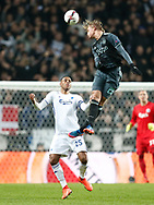 FOOTBALL: Kasper Dolberg (Ajax Amsterdam) jumps above Mathias Zanka Jørgensen (FC København) during the UEFA Europa League round of 16, first leg, match between FC København and AFC Ajax at Parken Stadium, Copenhagen, Denmark on Marts 9, 2017. Photo: Claus Birch