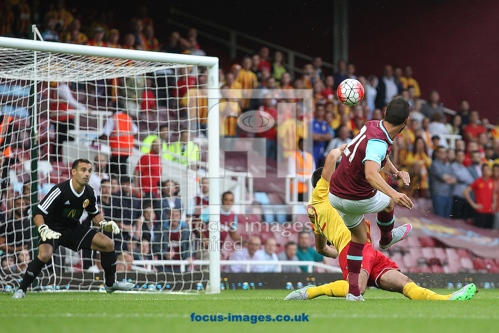 Morgan Amalfitano of West Ham has a shot on goal during the UEFA Europa League match at The Boleyn Ground, London<br /> Picture by Paul Chesterton/Focus Images Ltd +44 7904 640267<br /> 16/07/2015