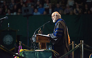 Executive Vice President and Provost Chaden Djalali speaks at graduate commencement. Photo by Ben Siegel