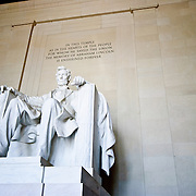 Statue of Abraham Lincoln on the interior of the Lincoln Memorial