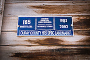 Historic town hall plaque, Ridgway, Colorado USA