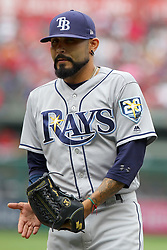 May 20, 2018 - Anaheim, CA, U.S. - ANAHEIM, CA - MAY 20: Sergio Romo (54) of the Rays celebrates after being removed from the game during the major league baseball game between the Tampa Bay Rays and the Los Angeles Angels on May 20, 2018 at Angel Stadium of Anaheim in Anaheim, California. (Photo by Cliff Welch/Icon Sportswire (Credit Image: © Cliff Welch/Icon SMI via ZUMA Press)