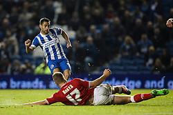 Bristol City's Nathan Baker slides in to block Brighton's Sam Baldock shot - Mandatory byline: Jason Brown/JMP - 07966 386802 - 20/10/2015 - FOOTBALL - American Express Community Stadium - Brighton,  England - Brighton & Hove Albion v Bristol City - Championship
