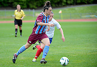 Elise Mamanu-Gray of Football South looks to evade defence, in the ASB women's league match between Football South and Auckland Football, at the Caledonian Ground, Dunedin, New Zealand,  20 October 2013. Credit: Joe Allison / allisonimages.co.nz