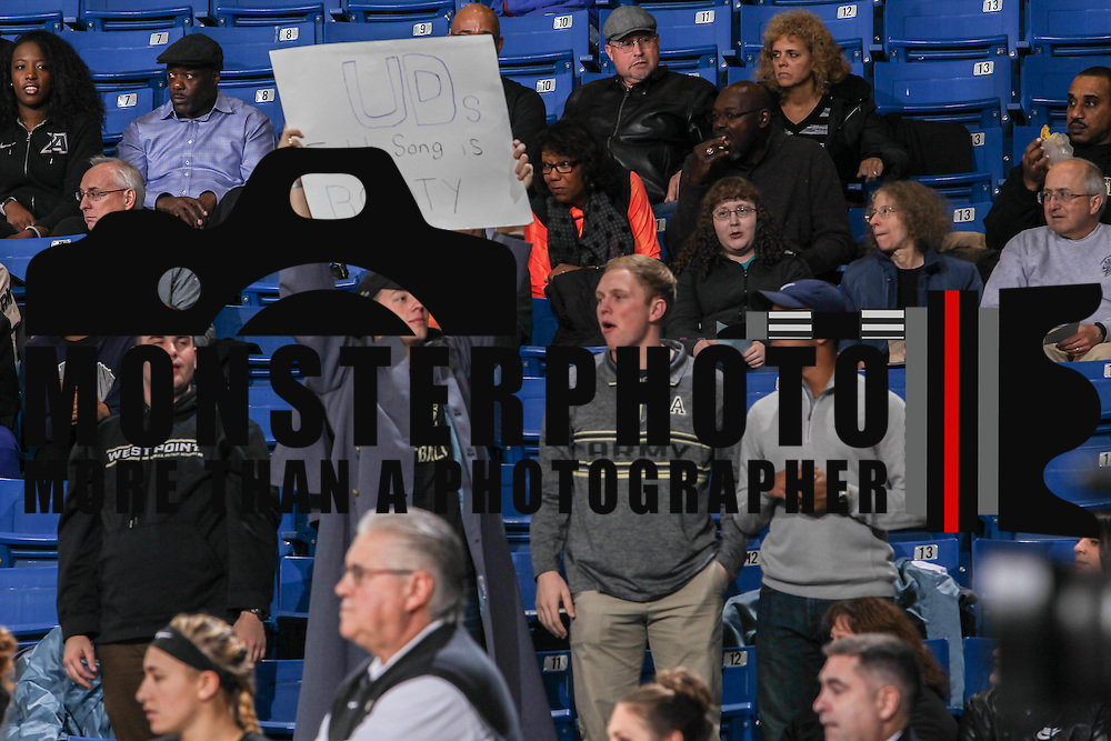 A Army fan holds up a sign during a regular-season non conference game Sunday, Dec. 11, 2016, at the Bob Carpenter Center in Newark Delaware.