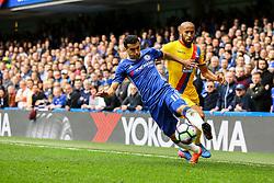 Pedro of Chelsea under pressure from Jason Puncheon of Crystal Palace - Mandatory by-line: Jason Brown/JMP - 01/04/2017 - FOOTBALL - Stamford Bridge - London, England - Chelsea v Crystal Palace - Premier League