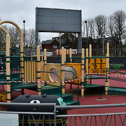 During the coronavirus in UK lockdown seen Children playground totally lockdown, at Walthamstow Square,on 28 March 2020 London.