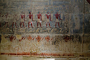 Wall fresco of men carrying jars of provisions for the afterlife in the mastaba tomb built by Mereruka, vizier of the Pharaoh Teti