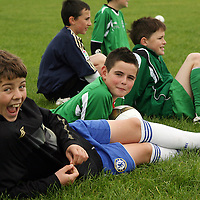 Danny Dooley, Seamus Parra, Conor Burke and Michael Davenport at the Ennistymon soccer camp during the week.<br /> Photograph by Yvonne Vaughan
