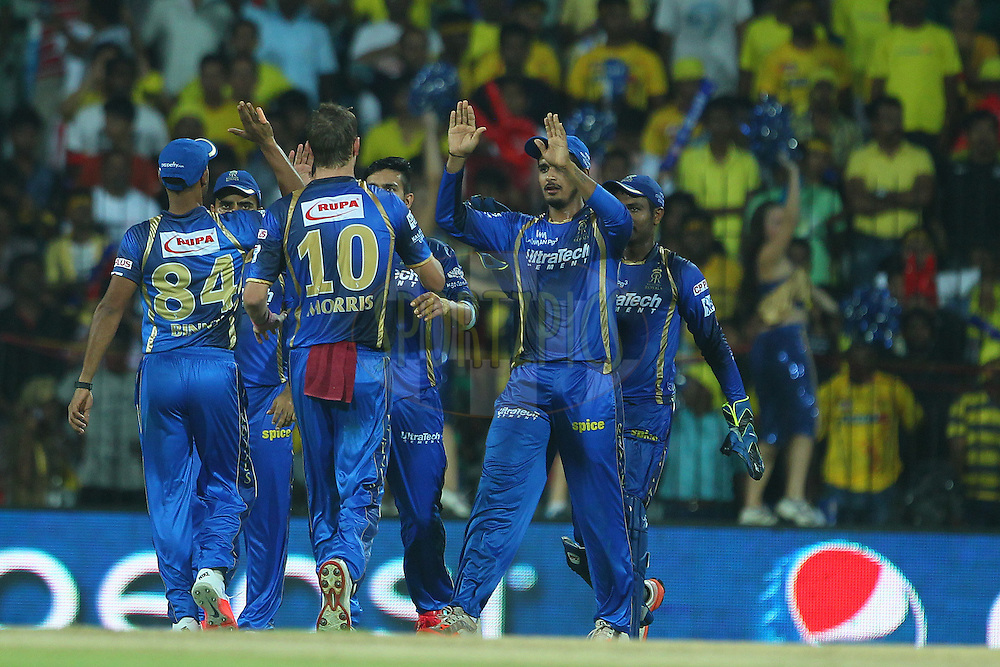 Ankit Sharma of the Rajasthan Royals celebrates the wicket of Pawan Negi of the Chennai Superkings  during match 47 of the Pepsi IPL 2015 (Indian Premier League) between The Chennai Superkings and The Rajasthan Royals held at the M. A. Chidambaram Stadium, Chennai Stadium in Chennai, India on the 10th May 2015.<br /> <br /> Photo by:  Ron Gaunt / SPORTZPICS / IPL