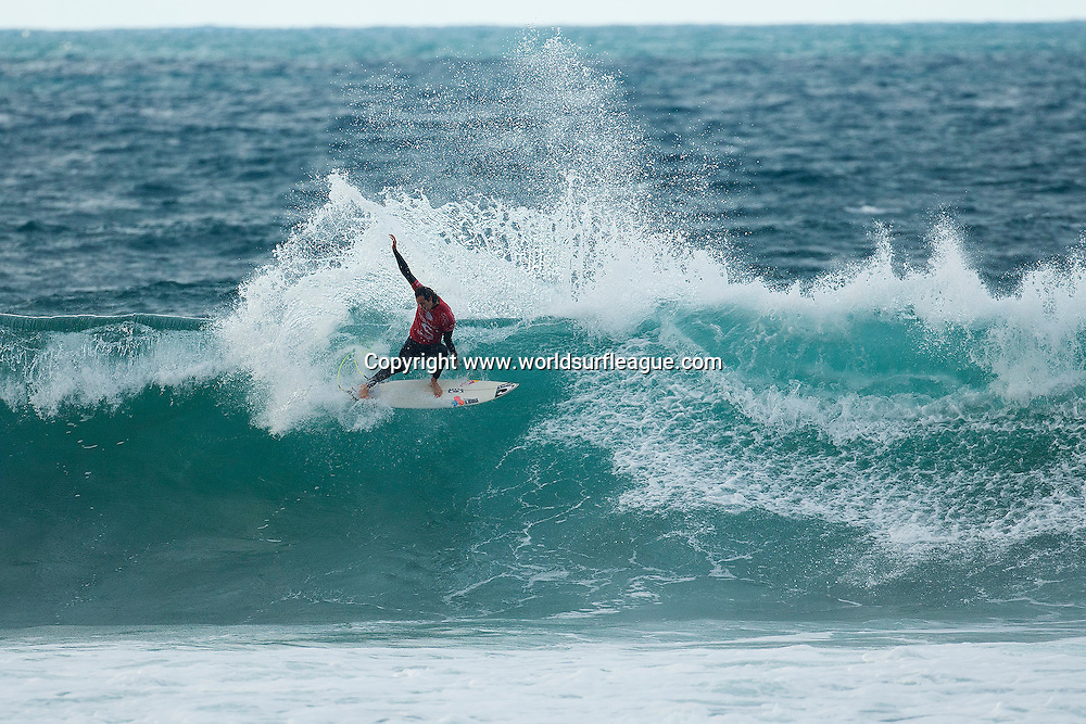 Jordy Smith of South Africa (pictured) reached the Quarterfinals of the Rip Curl Pro Bells Beach where he was eliminated by Mick Fanning (AUS) in Australia on Thursday April 9, 2015.